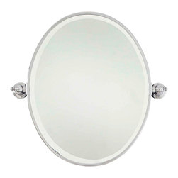 """Minka Lavery - Traditional Minka 24 1/2"""" High Oval Chrome Bathroom Wall Mirror - Change the look of your bathroom in a snap with this oval shape chrome bathroom wall mirror. 1/2"""" wide steel plated frame in chrome surrounds beveled mirror glass. Glistening hanging brackets on the sides add extra interest. A great design from the Minka wall mirror collection. Steel plated frame. Chrome finish. Beveled mirror. 24 1/2"""" high. 25"""" wide. Glass only is 23 1/2"""" high and 18 1/2"""" wide. Extends 3 1/4"""". Vertical hang only.  Steel plated frame.   Chrome finish.   Beveled mirror.   24 1/2"""" high.   25"""" wide.   Glass only is 23 1/2"""" high and 18 1/2"""" wide.   Extends 3 1/4"""".   Vertical hang only."""