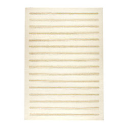 """Chicago White Rug - 2'8"""" x 7""""10"""" - Milk-white, hand-knotted wool with flaxen neutral stripes adds a light, classic look to the room and preserves the clean freshness of an interior.  The light brown bands of the Chicago White Rug feel dimensional due to the clever variation of the stripe width, keeping the texture of your space attractive and approachable while leading the line of sight to areas of interest."""