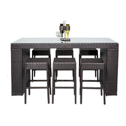 TKC - Bar Table Set With Backless Barstools - Simple, affordable and beautiful, our Bar Set is designed for ultra-comfortable outdoor dining. Table is topped with tempered glass and bar stools store neatly under the table.