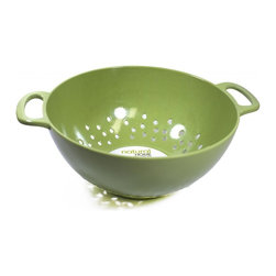 MOBOO® 3-Quart Colander, Pistachio - Made of MOBOO® (molded bamboo). A great way of draining food such as pasta or rice. Perforated nature of the colander allows liquid to drain through while retaining solid foods inside.