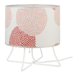 Lights Up! - Virgil Low Lamp -White Powder Coat Base, Red Mumm - This versatile table lamp, designed by Rachel Simon, has the kind of easy-going style you love. A simple drum shade — prettily patterned or simply solid — atop a legged base makes a cool, casual statement in your favorite setting.