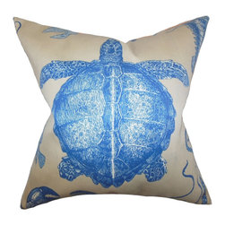 The Pillow Collection - Aeliena Coastal Pillow Blue - Magical and majestic, this underwater theme throw pillow makes a  bold statement piece in your home. This throw pillow comes with a turquoise print in blue against a natural background. Use this accent pillow to add dimension to your beach house, or add a coastal touch to your living space. Made of 100% high-quality acrylic material.
