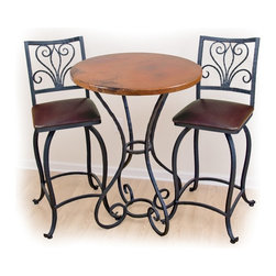 """Mathews & Company - Alexander 40"""" Bar Table with 30"""" Round Top - Perfect in a breakfast nook, the Alexander 40"""" bar table is a great place to sip your morning coffee. Four curved wrought iron legs are made by hand and add an elegance and beauty to the little bar table. Make this table fit your style and decor by choosing from four different iron finishes. Make this table even more your own and choose between a homey and rich pine wood top and several elegant marble tops. Pictured in Copper top and Black finish."""