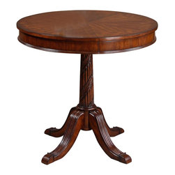 Uttermost - Matthew Williams Brakefield Round Table - Designer: Matthew Williams. Made of Mdf. Assembly instructions. 32 in. W x 32 in. D x 30 in. HPolished pecan finish over solid carved hardwood base with top inlayed in cherry, primavera, zebra wood and cedar burl veneers.