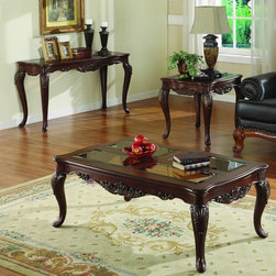Homelegance - Homelegance Ella Martin 3 Piece Coffee Tables Set w/ Glass Insert - When adding the personal touches to your living space that reflect the warmth and elegance of your home  the Ella Martin Collection is the perfect traditional table offering. Featuring a warm brown cherry finish  smoked glass and gold tipped acanthus leaf