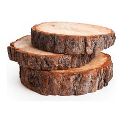 Wood Slab Centerpiece - Use these slices as the base for your centerpiece vignette. Style it with candles, vases or brass objects.