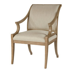 Kathy Kuo Home - Isabelle Pavilion Regency Style Natural Linen Dining Arm Chair - Let your inner star shine. This chair will add a Hollywood regency feel to your dining or breakfast room. Available in either an arm or side chair, the sturdy oak frame positively gleams in golden taupe, complemented by the sandy linen upholstery in an ever-so-subtle herringbone weave. Your agent called. Time for a lunch meeting.