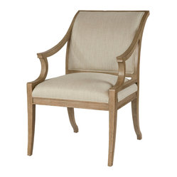 Isabelle Pavilion Regency Style Natural Linen Dining Arm Chair