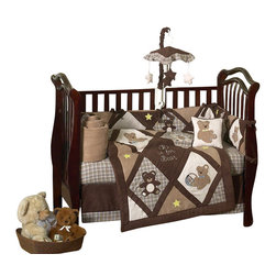 Sweet Jojo Designs - Chocolate Teddy Bear 9-Piece Crib Bedding Set - Cuddle up with Sweet Jojo Designs Teddy Bear 9-Piece crib bedding set. This set combines super soft micro-suede fabrics with cozy 100% cotton and features fun Teddy Bear and Star appliqués and embroidery work. A rich color combination of chocolate, camel and cream with blue and yellow accents creates a timeless look for your little ones nursery. This Teddy Bear crib bedding set comes in a zippered, handled carrying bag, made by Sweet Jojo Designs and fits all standard size cribs and toddler beds.