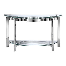 "Stein World - Stein World Mercury Demilune Sofa Table Multicolor - 410-032 - Shop for Tables from Hayneedle.com! Some sofa tables try (and fail) to be big and small at the same time but the Steinworld Mercury Demilune Sofa Table doesn't have that problem. At sofa-height and with two glass shelves this table accomplishes the ""big"" part of the formula by giving you height and space for an artfully placed bowl statue or vase of fresh flowers. The gentle half-moon shape and light minimal design takes care of the ""small"" job by not adding too much visual weight to your room. What remains is a visually interesting shape of transparent glass and brightly-polished metal that will quietly complement any room.About Stein WorldStein World is dedicated to discovering and bringing to the market place the finest hand-painted products from around the world. With over 50 years of experience they have been able to develop not only the resources but true partnerships with quality manufacturers and artisans who make Stein World unique in the furniture industry today. Their commitment to you is to present only the highest quality furniture at prices that bring future family heirlooms into everyone's price range."