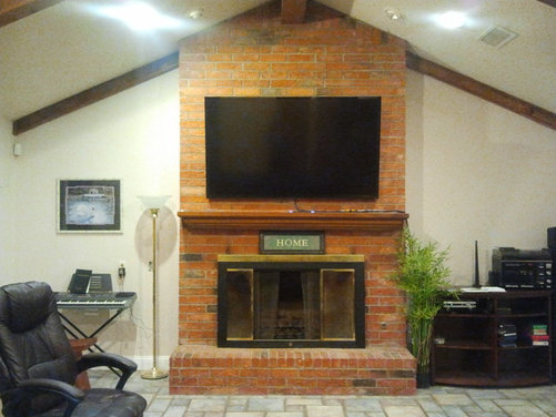Reface a floor to ceiling brick fireplace - Floor to ceiling fireplace ...