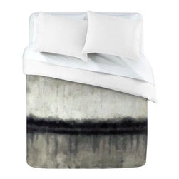 DENY Designs Conor ODonnell E2 Duvet Cover - Stylish and serene, the DENY Designs Conor ODonnell E2 Duvet Cover is like art you can sleep under. The watercolor feeling of this cover gives a relaxing and artistic quality to your space. The varied shades of black and white make for a mottled color scheme that's sure to get you dreaming.Duvet Cover Dimensions:Twin: 88L x 68W inchesQueen: 88L x 88W inchesKing: 88L x 104W inchesAbout DENY DesignsDenver, Colorado based DENY Designs is a modern home furnishings company that believes in doing things differently. DENY encourages customers to make a personal statement with personal images or by selecting from the extensive gallery. The coolest part is that each purchase gives the super talented artists part of the proceeds. That allows DENY to support art communities all over the world while also spreading the creative love! Each DENY piece is custom created as it's ordered, instead of being held in a warehouse. A dye printing process is used to ensure colorfastness and durability that make these true heirloom pieces. From custom furniture pieces to textiles, everything they make is unique and distinctively DENY.