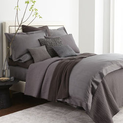 "Donna Karan Home - Donna Karan Home Moire European Sham - Donna Karan Home's ""Urban Oasis"" bed linens collection provides subtle texture in equally subtle colors. Select color when ordering. Moire jacquard linens with 7"" flange are made of cotton. Quilted accessories with linear stitching are cotton voile....."