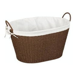 Household Essentials - Paper Rope Laundry Hamper, Brown - Our Lined Paper Rope Laundry Basket in dark brown color is ideal for bathrooms or laundry rooms. The designer waste bin has a sturdy wire frame that hold all the contents in it securely. A protective coating prevents mold or mildew. Designed to keep the contents breathable, this basket is compact and easy to clean.