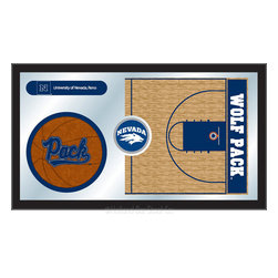 "Holland Bar Stool - Holland Bar Stool Nevada Basketball Mirror - Nevada Basketball Mirror belongs to College Collection by Holland Bar Stool The perfect way to show your school pride, our basketball Mirror displays your school's symbols with a style that fits any setting.  With it's simple but elegant design, colors burst through the 1/8"" thick glass and are highlighted by the mirrored accents.  Framed with a black, 1 1/4 wrapped wood frame with saw tooth hangers, this 15""(H) x 26""(W) mirror is ideal for your office, garage, or any room of the house.  Whether purchasing as a gift for a recent grad, sports superfan, or for yourself, you can take satisfaction knowing you're buying a mirror that is proudly Made in the USA by Holland Bar Stool Company, Holland, MI.   Mirror (1)"