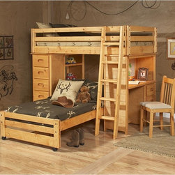 Chelsea Home - Chelsea Home Twin Over Twin Loft Bed with Chest and Desk Ends - Cinnamon Multico - Shop for Bunk Beds from Hayneedle.com! Your kids' room will be buzzing with activity thanks to the Chelsea Home Twin Over Twin Loft Bed with Chest and Desk Ends - Cinnamon and its smart design. This bed set seamlessly integrates a large storage area and even a desk to make the most of a cramped space. It has a fun loft design and is made to last from solid Ponderosa pine. About Chelsea Home FurnitureProviding home elegance in upholstery products such as recliners stationary upholstery leather and accent furniture including chairs chaises and benches is the most important part of Chelsea Home Furniture's operations. Bringing high quality classic and traditional designs that remain fresh for generations to customers' homes is no burden but a love for hospitality and home beauty. The majority of Chelsea Home Furniture's products are made in the USA while all are sought after throughout the industry and will remain a staple in home furnishings.