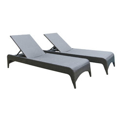 Su-zanne - Del Mar Outdoor wicker chaise lounge chairs (includes two lounges) - Stylish comfort all weather resin wicker armless lounge chairs with adjustable back for leisure relaxing.  Includes two lounges.