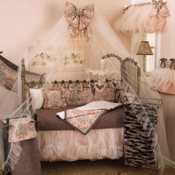 Cotton Tale Designs - Nightingale 8 Pc Crib Bedding Set - A quality baby bedding set is essential in making your nursery warm and inviting. All N. Selby patterns are made using the finest quality materials and are uniquely designed to create an elegant and sophisticated nursery. Nightingale is absolutely breath taking and beautiful, a soft classic nursery with cotton percale bumper in subtle pink, gray and charcoal. The 8pc set contains 4pc bedding set(bumper, dust ruffle, sheet, and coverlet), diaper stacker, toy bag, pillow pack, and valance. Bumper has 4 sections with attached bows. Bumper pieces measures two long sections 52 x 11 inches and 2 short sections 26 x 11 inches. Sheet is in 300 thread count cotton percale with matching cord and ties on bumper. Dust ruffle has underskirt of pin tuck poly satin with a double overlay of champagne tulle. The sets coverlet is soft fancy fur, lined in pink and charcoal dot flange trim. The perfect touch is to add with the set the champagne ruffled mosquito net with bow. Nightingales valance is of beautiful pin tuck poly satin with double layers of champagne tulle. Two bows adorn the ends of the valance. Valance can be stuffed for balloon effect or left straight. Valance measures 50 x 17 inches. Machine wash cold water, on gentle cycle separately. Tumble dry low or hang to dry. An adorable valance for your little girls nursery. Bows come unattached to valance, for versatility in decorating. You will need to attach the bows where you like them, by safety pin or sewing. Nightingales pillow pack consist of two separate pillows. In in pink, gray, and charcoal cotton ruffled and one in fancy fur. Ruffle pillow measures 13 x 13 inches and fur pillow measure 11 x 11 inches. Pillows should never be used in the crib. Spot clean only. Nightingales toy bag can be tied to the changer and used for storage or it may be used as wall decor. This functional toy bag can store toys or supplies, up to 10 lbs capacity. Never tie on crib. Machine