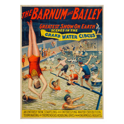Barnum & Bailey Grand Water Circus Print - The Barnum & Bailey greatest show on earth Scenes in the grand water circus. Printed by The Strobridge Lith. Co., Cincinnati - New York in 1895. Original chromolithograph at 100 x 76 cm. Created as a circus poster showing performers in a pool.