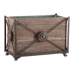 Kathy Kuo Home - Pair Noella Wood Metal French Planter Decorative Box - Elegant yet practical, the Noella Wood Box can stow away items while adding an element of design. Lined with metal, it can be used as a planter.