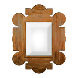 Gothic Wall Mirror with a Medium Brown Wax Finish - The fanciful, elaborate medieval-inspired outlines of Gothic Revival style meet the wonderfully weathered look of washed reclaimed lumber in the handcrafted Gothic Wall Mirror, a gorgeous hanging piece large enough for use as a full-length mirror or a grand overmantel accent in your traditional home.  Scalloped and lanceolate outlines are finely beveled for a flawless finish; deeper beveling surrounds the rectangular reflective pane.