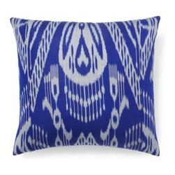 5 Surry Lane - Blue Silk Ikat Pillow - Throw pillows have a way of bringing a room together. This raw silk pillow will bring added style to your sofa with its generous size, vivid pattern and exotic tone.