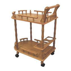 ORE International - 2-Tier Bar Cart w Wine Storage - Kitchen cart-style. Rail sides . Castered trolley. Wine storage. Top shelf for serving. Lower storage shelf . Made from wood composite. 23.5 in. L x 15 in. W x 29 in. H (15 lbs.)A perfect enhancement to any gathering.