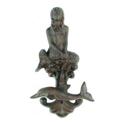 Handcrafted Nautical Decor - Rustic Cast Iron Dolphin and Mermaid Door Knocker 8'' - The Rustic Cast Iron Dolphin and Mermaid Door Knocker 8''  is    the perfect addition for any nautical themed home. Crafted from cast iron, this heavy, decorative door knocker produces a rich tone with each knock and is easily mountable. Display this dolphin and mermaid door knocker to show guests your affinity for the nautical sea-faring lifestyle.--------    Functional yet decorative dolphin and mermaid door knocker--    --    Produces a deep and rich tone with each knock--    Handcrafted from cast iron--    --    Classic vintage rustic appearance--    Solid and heavy--    Easily mountable (screws not included)--
