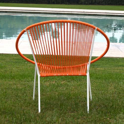 Hoop Chair - This mid century modern hoop chair comes in several fun colors. Pair two that are different colors on your back porch. Even better, talk to the folks there and create your own color scheme. A one of a kind with a vintage touch!