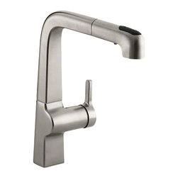 "Kohler - Evoke® Single-hole Kitchen Sink Faucet With 9"" Pullout Spout                   , - •Single lever handle is simple to use and makes adjusting water temperature easy."