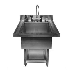 Pedestal Single Bowl Utility Sink - This is a great looking single bowl sink for use in a very modern loft design or in a laundry room-indestructible and great looking