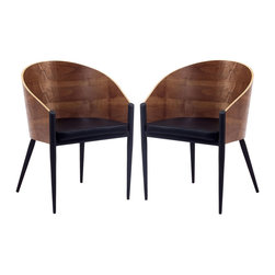 Modway - Modway EEI-915 Cooper Dining Chairs Set of 2 in Walnut - Invest energies in a natural way with the Cooper Dining Chair with Chrome Legs. Sit content as a renewed sense of urgency sweeps through the curved wooden back and four-legged contemporary design. Positioned firmly on three legs with a broad recreational fourth leg, remain open to possibilities while balanced by constant support.