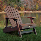 """Highwood USA - Highwood & Reclining ADULT Adirondack Chair - Features: -Proudly hand-crafted in the USA by Amish woodworkers - the textured look of real-wood without the maintenance headache (highwood is ''Nature's Closest Rival''...never paint or stain again)..-Assembled with high-grade stainless steel hardware to complement the ultra-low maintenance of the highwood material.-No other material on the market combines such ultra low maintenance ownership with its elegant wood-like appearance..-Adirondack collection.-Frame Construction Material: Highwood unique synthetic wood.-Distressed: No.-Gloss Finish: No.-Reclining Positions: 3 stage recline.-Powder Coated Finish: No.-UV Resistant: Yes.-Mildew Resistant: Yes.-Rust Resistant: Yes.-Cushions: Yes.-Cushions Included: No.-Cushion Material: Sunbrella fabric cushions.-Fade Resistant: Yes.-Ottoman Included: No.-Water Resistant or Waterproof : Waterproof.-Welt on Cushions: No.-Tufted Cushions: No.-Cushion Fill Material: Foam.-Arms: Yes.-Armrest Cupholder: No.-Glider: No.-Rocker: No.-Swivel: No.-Stacking: No.-Reclining Mechanism : Notched legs with adjusting backrest.-Adjustable Headrest: No.-Seating Capacity: 1.-Swatch Available: Yes.-Commercial Use: Yes.-Recycled Content: Yes.-Total Recycled Content (Percentage) (Finish: White, Toffee, Coastal Teak): 0%.-Total Recycled Content (Percentage) (Finish: Weathered Acorn): 99%.-Post-Consumer Content (Percentage): 0%.-Remanufactured/Refurbished : No.-Product Care: Can be cleaned with soapy water and a soft bristle brush. Heavy grime can be gently power-washed.Dimensions: -Seat Height Without Cushion: 14"""".-Arm Height: 20.8"""".-Arm Width: 5.3"""".-Leg Width - Side to Side: 1"""".-Leg Depth - Front to Back: 3.3"""".-Seat Cushion Thickness: 2.5"""".-Seat Cushion Width - Side to Side: 20.25"""".-Seat Cushion Depth - Front to Back: 19.5"""".-Weight of Seat Cushion: 3 lbs.-Overall Height - Top to Bottom: 36"""".-Overall Width - Side to Side: 29"""".-Overall Depth - Front to Back: 37"""".-Overall Product Weight: 33"""