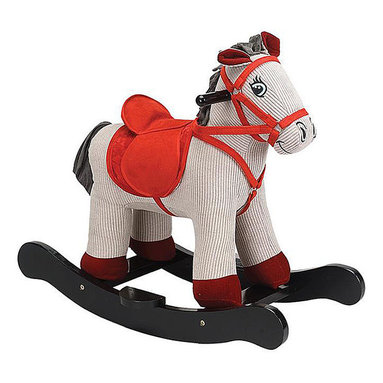 """Charm Company - Corduroy Horse Rocker - The Corduroy Horse Plush Rocker is designed with wood and can entertain children 3 years and older. The structure is constructed of hand crafted hardwood while the cute multi-colored horse is made out of soft plush. Wooden handles stick out near the animals ears so your children can hold on to them while rocking and keep their balance. This rocker has a sound feature that requires 2 AA batteries not included. Holds up to 100 lbs. Recommended for children ages 3 and up. Strong hardwood rocker base. Strong hardwood rocker base. Natural non-toxic finish. Natural stain wooden handles. Extra soft plush body. Fun sounds. Easy clean up with mild soap and water. Dimensions: Rocker width: 12"""", rocker length: 25"""", overall height: 22"""", seat height to floor: 14.5""""."""