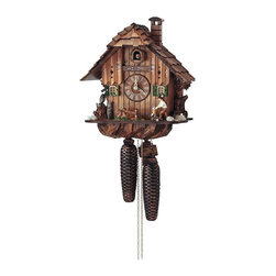 Schneider Cuckoo Clocks - Quartz 10.6 in. Wooden Cuckoo Clock - Black forest house with individual handlaid wooden shingles. Wooden cuckoo, dial with roman numerals and hands. Two decorative metal weights. Owl and squirrel. Woodchopper moves every full hour. Shut-off lever on left side of case silences strike, call and music. Wooden cuckoo calls and strikes every half and full hour. Automatic night shut off. Hand painted flowers. Made from wood. Made in Germany. 10.6 in. W x 7.1 in. D x 11.8 in. H (11 lbs.). Care Instructions