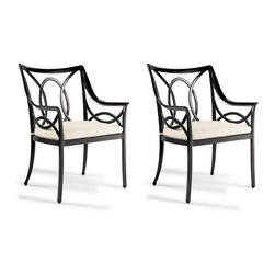 Frontgate - Moreaux Set of Two Outdoor Dining Chairs with Cushions, Patio Furniture - Long-lasting, all-weather powdercoated finish over solid cast aluminum. Complements contemporary, transitional and traditional styles. Arrives assembled. Dine simply, gracefully. Distinguished by its signature oval motif, soft curves and sweeping form, this Moreaux Dining Arm Chair unites lightness and space with generous scale and regal comfort. The frame - deftly crafted of solid cast aluminum - wears a remarkable, single-step powdercoated finish with a 5-year warranty.Part of the Moreaux Collection.  .  .  .