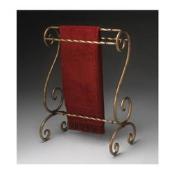 Butler - Blanket & Clothes Drying Stand w Bronze Finis - Accented with scrolls and a bronze finish, this metal stand for blankets and linens features a sturdy design with spiraling horizontal bars and swirling feet.  Charm guests or entertain yourself with its quality and function. * Bronze finished metal. Horizontal rails for hanging quilts, comforters, bedspreads as well as blankets. Can also be used for hanging guest towels. 25 in. W x 15 in. D x 35 in. H
