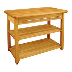 "Catskill Craftsmen - Catskill Contemporary Harvest Table - Butcher Block Top 48"" x 24"" - This table features a butcher block top for meal prep, plus ample storage via drawer and adjustable, slatted shelves. Model 1448."