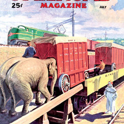 Buyenlarge - Railroad Magazine: The Circus on the Tracks, 1946 20x30 poster - Series: Railroad