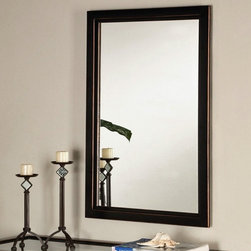 "Holly & Martin - Holly & Martin Roxburgh Wall Mirror - This rectangular mirror from the Vogue Collection features a double-edged frame. Finish is a rub-through of black and copper hues that brings out a gleam and adds depth. It can be paired with formal furnishings in an entry or living area. * The Vogue collection will bring a pleasantly distinct style to your home. The metal frame is finished in black with the edges rubbed away to show the copper finish below. The base of each sturdy table consists of a curved ""X"" which holds the tempered glass top. The cocktail, end table, console table and mirror are all sold separately. Assembly: Some assembly is required. Material of construction: Metal / 5 mm Mirror. 22 in. W x 36 in. H x 1.25 in. D"