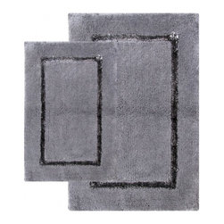 "Chesapeake Merchandising - 2 Piece Greenville Bath Rug Set in Port, Pewter - Beautiful cotton and rayon bath rug compliments any bathroom. Set of 2 bath rugs includes one 21""x34"" and one 17""x24"". Machine Tufted. Spray latex backing. Dimensions: 21""W X 34""L and 17""W X 24""L; Color: Pewter; Material: Cotton, Rayon; Shape: Rectangular; Construction: Machine Tufted"