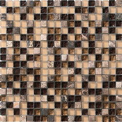 Marazzi - Crystal Stone LG4E Coffee - The sum is exponentially greater than the parts in Crystal Stone....beauty to the nth degree. Separately, the bits of glass and stone might appear inconsequential, but Crystal Stone's remarkable pairings elevate them to miniature works of art. Nine gem-like shades are universally appealing. Extremely versatile, the mesh mounted modules are easily installed intact to cover large expanses. Or, coversely, they can be cut into strips for use as vertical or horizontal listelli or dots for decorarative insertions on backsplashes, floors, fireplace surrounds or tub, shower and pool walls.  The shimmer and shine of both clear and translucent glass combine with the velvety smoothness of tumbled marble to immediately attract attention. Like tiny jewels nestled amid a soft, matte background, reflective gleams add zing to any setting from traditional to contemporary.