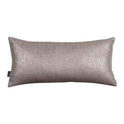 Howard Elliott - Glam Pewter Kidney Pillow - Change up color themes or add pop to a simple sofa or bedding display by piling up the pillows in a multitude of colors, textures and patterns. This Glam Pillow features a linen-like texture in a soothing grey color with a metallic finish