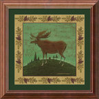 Amanti Art - Folk Moose Framed Print by Warren Kimble - One of a series of four, Kimble's animal portraits have a charming country feel. Get all of them and decorate your walls by hanging your collection in interesting patterns, in a row, diagonally, or even in a square.