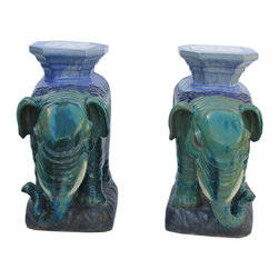 Golden Lotus - Pair Chinese Ceramic Green Mix Glaze Elephant Figures - This is a traditional Chinese garden figure in elephant shape. The outside is glazed with natural turquoise green color . The back is a platform as a stand or a table base.