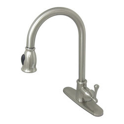Kingston Brass - Vintage Pull-Down Single Handle Kitchen Faucet, Satin Nickel - The Vintage pull-down kitchen faucet features a single handle lever with a gooseneck spout enabling easy access to a satisfying wash. The satin nickel finish enhances the quality of the faucet giving it a clean look to it.