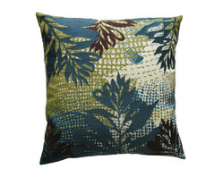 KOKO - Leaves Pillow, Jungle - This sophisticated tropical print will have you dreaming of an ocean adventure. All the embroidered leaves seem to be swaying in a warm water current. You just might need this pillow and that vacation.