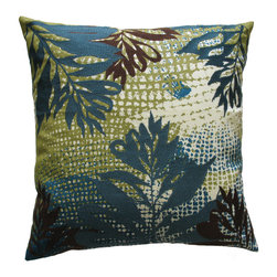 "KOKO - Ecco Pillow, Blue/Brown Leaf, 18"" x 18"" - This sophisticated tropical print will have you dreaming of an ocean adventure. All the embroidered leaves seem to be swaying in a warm water current. You just might need this pillow and that vacation."