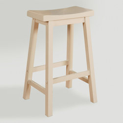 World Market - White Schoolhouse Barstool - A classic stool at an affordable price, our White Schoolhouse Barstool was created for versatility. The clean lines and sturdy construction include a seat curved for comfort and rails to rest your feet on.