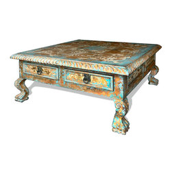 Koenig Collection - Old World Mediterranean Coffee Table Penny, Distressed Turquoise - Penny Coffee Table, Distressed Turquoise with Bone Scrolls